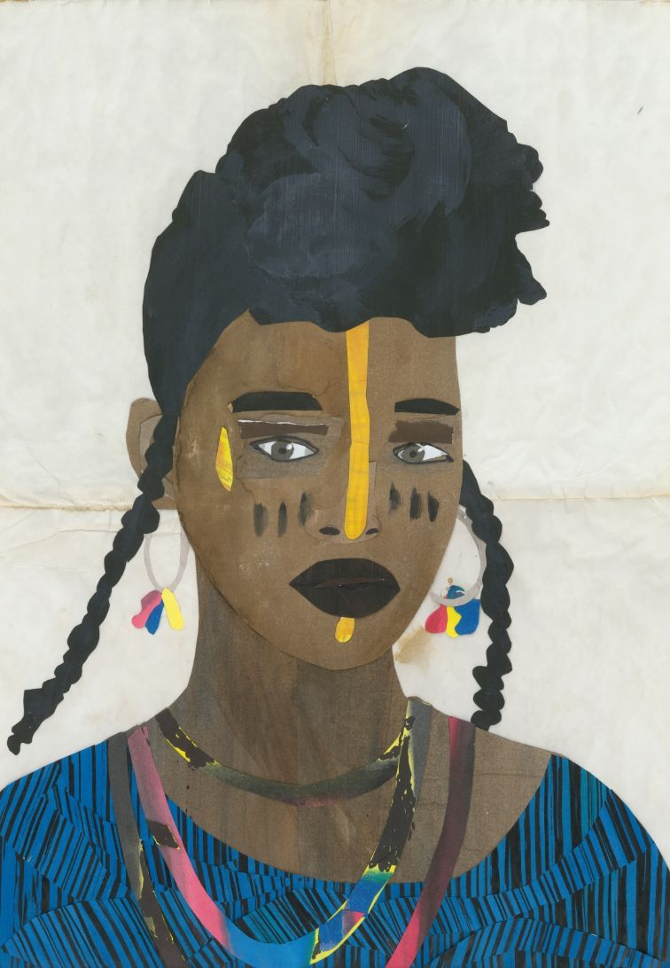 African woman stitched